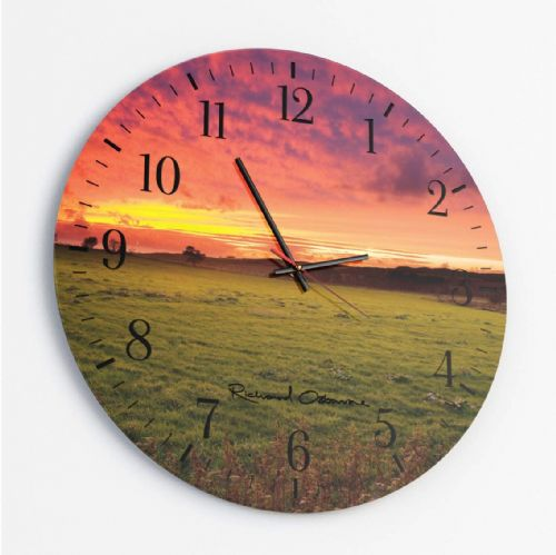 Sunset, Forest of Bowland - Round Glass Clock